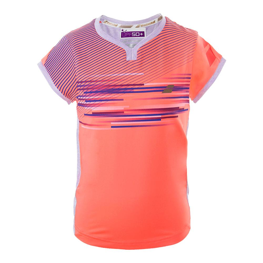 Girls ` Performance Cap Sleeve Tennis Top