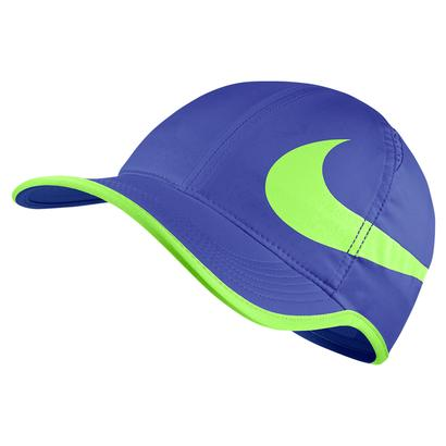 Aerobill Big Swoosh Featherlight Tennis Cap Paramount Blue and Ghost Green