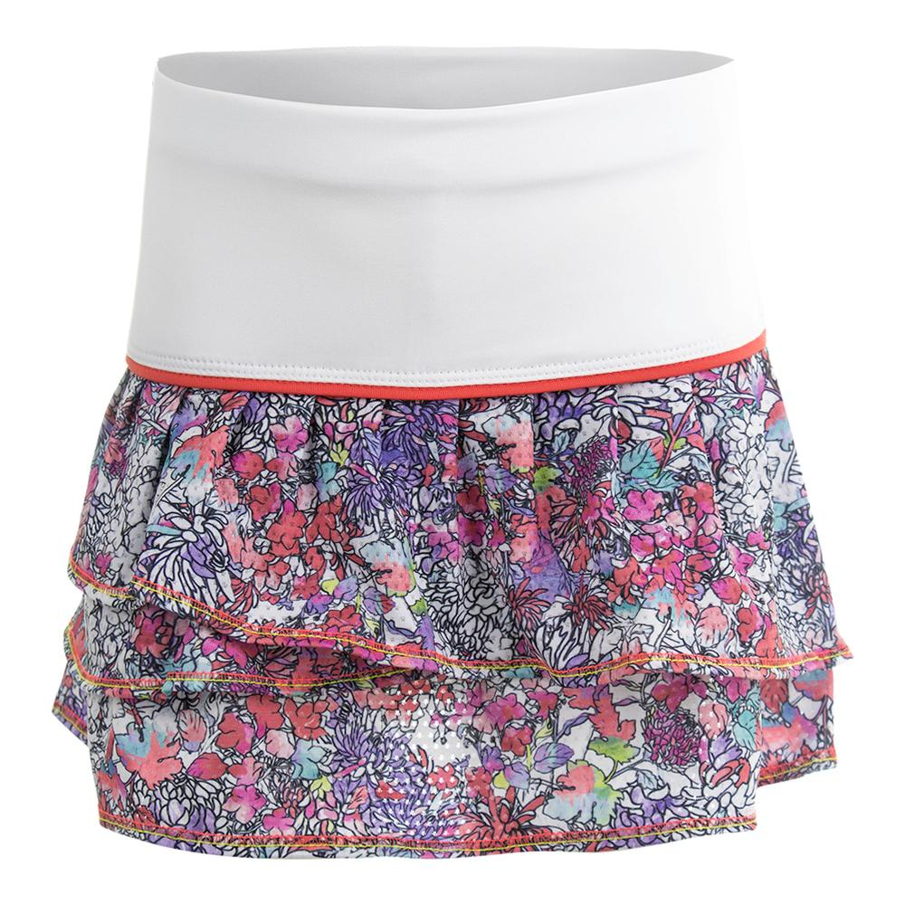 Girls ` Picture Perfect Pleat Tier Tennis Skort Print And White