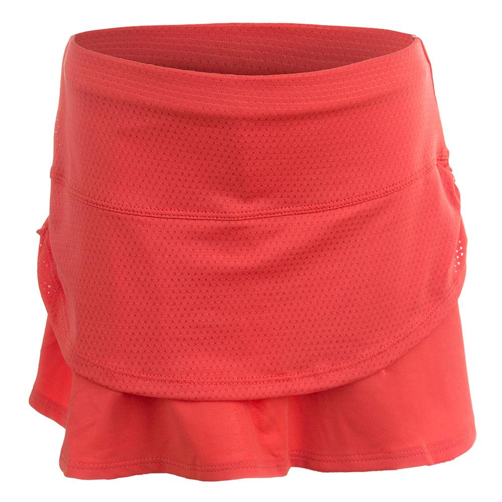 Girls ` Pindot Rouched Tier Tennis Skort Flame