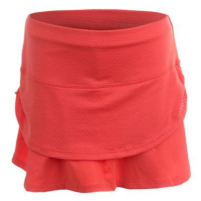 Girls` Pindot Rouched Tier Tennis Skort Flame