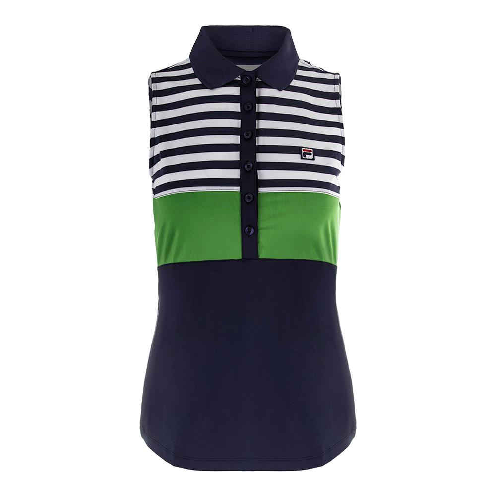 Women's Heritage Sleeveless Tennis Polo Navy And Online Green