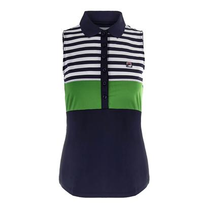 Women`s Heritage Sleeveless Tennis Polo Navy and Online Green