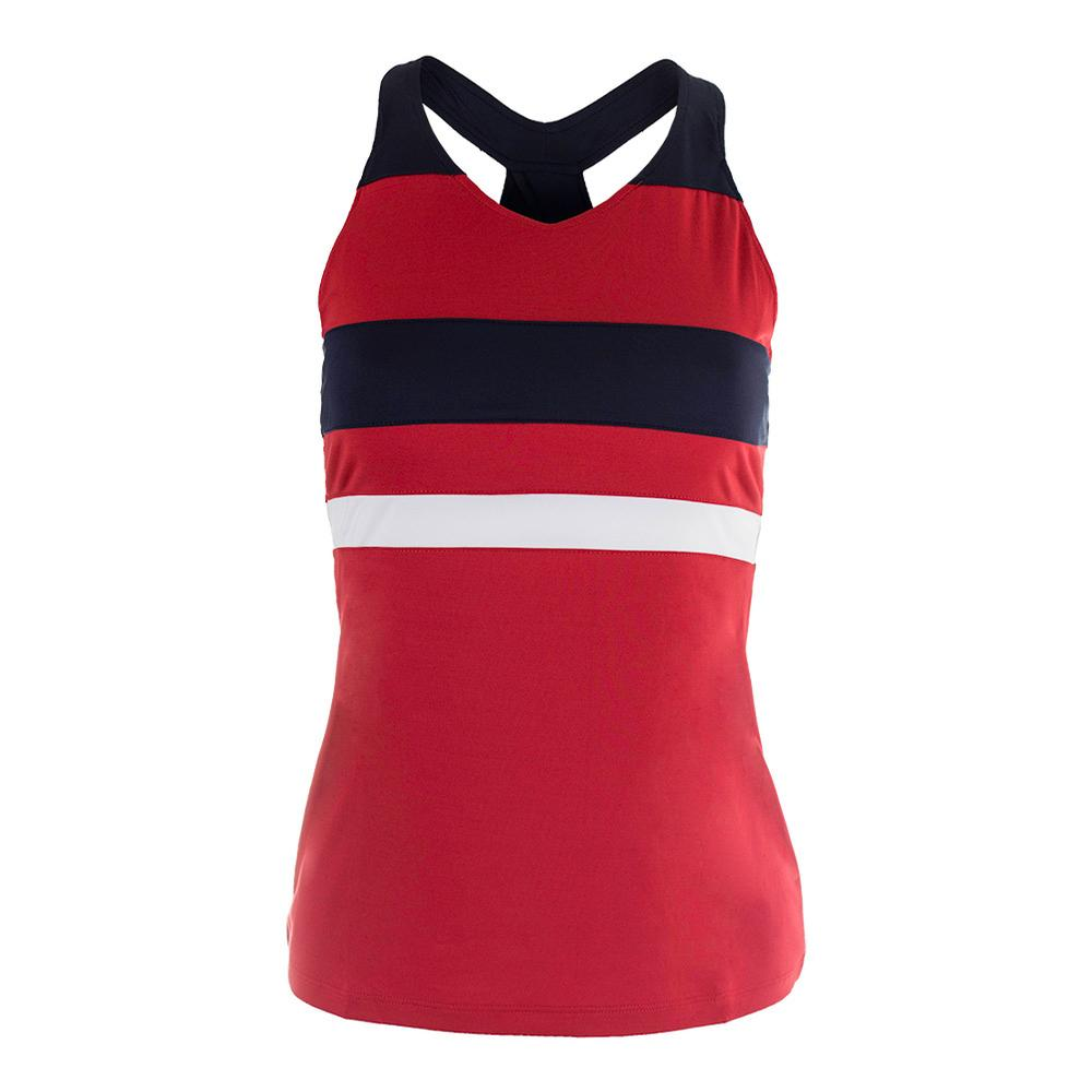 Women's Heritage Strappy Tennis Tank Chinese Red And Navy