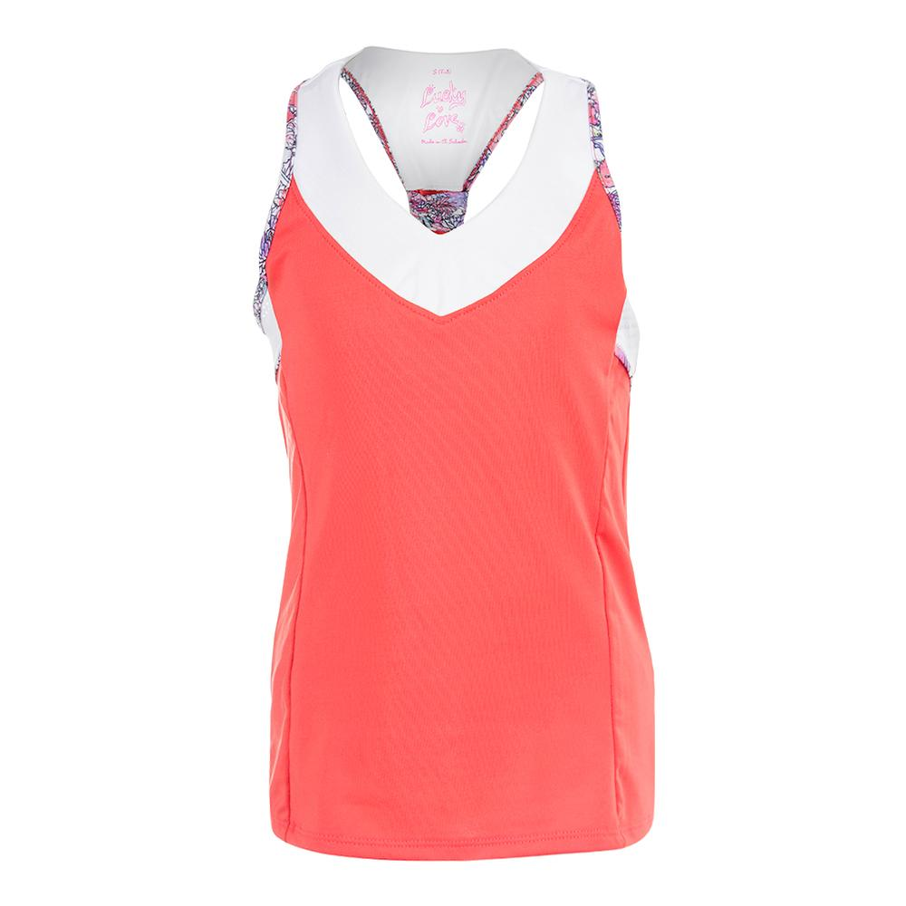 Girls ` V- Neck Racerback Tennis Tank Flame