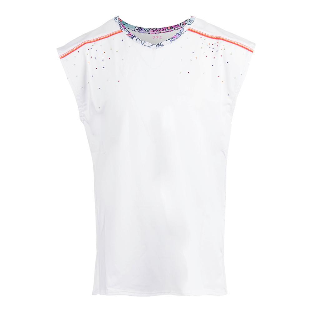 Girl's Swing Back Cap Sleeve Tennis Top White