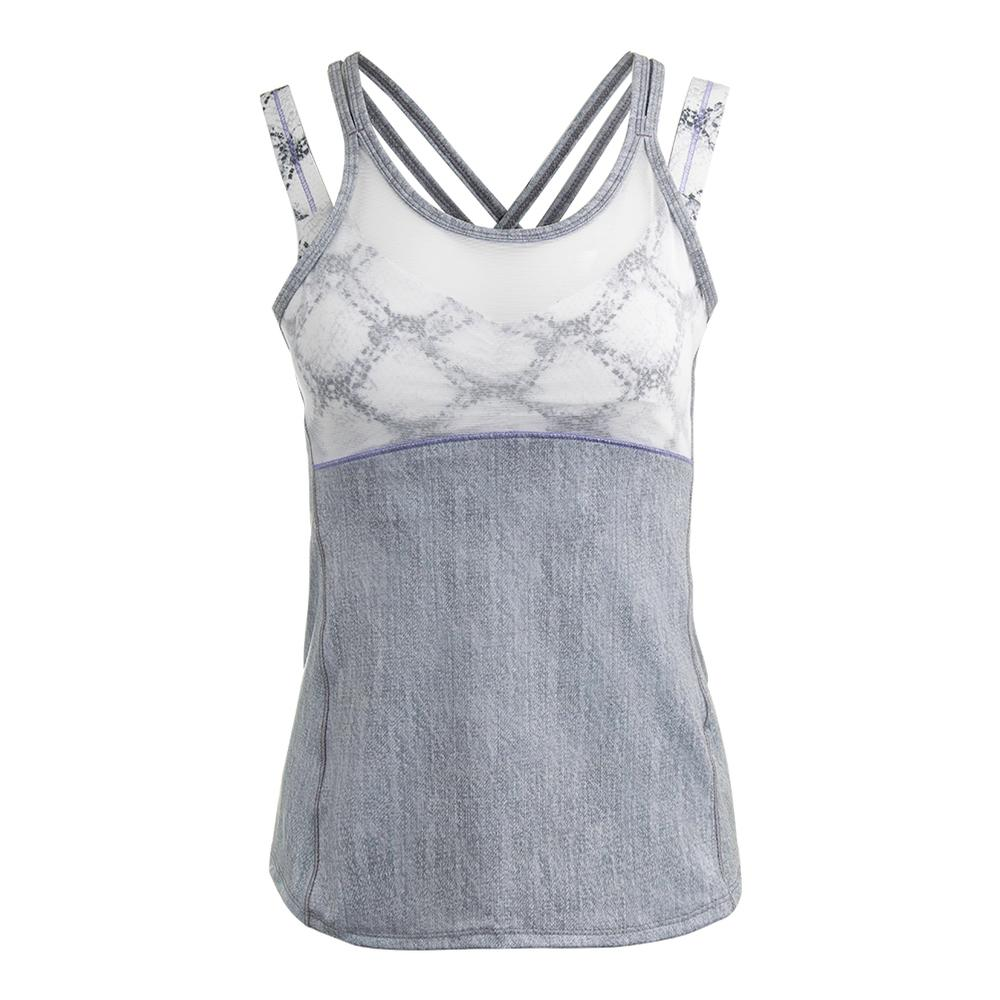 Women's Criss- Cross Mesh Tennis Cami Gray