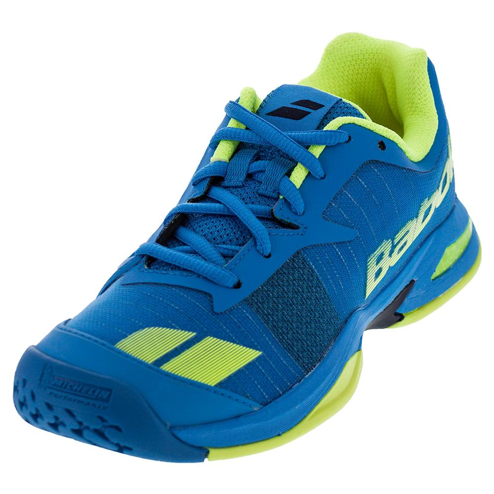 babolat junior jet all court tennis shoe blue yellow