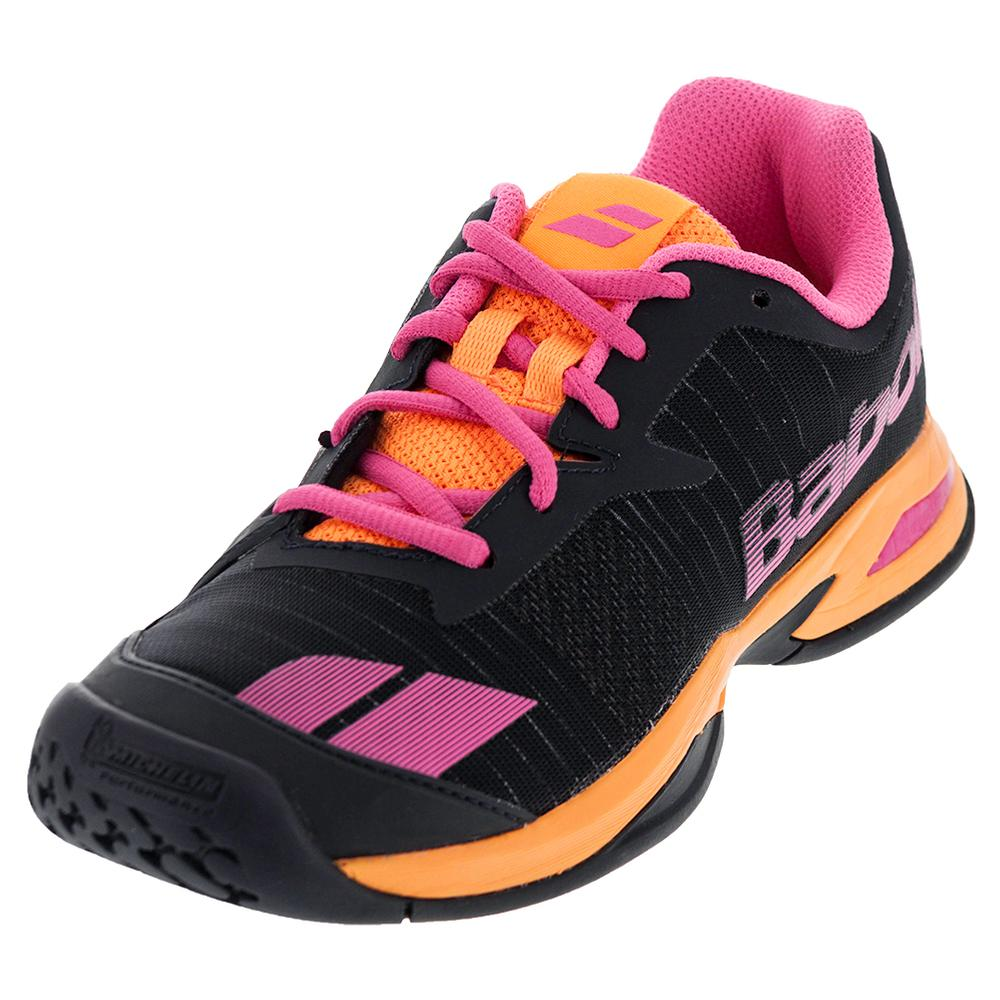 Juniors ` Jet All Court Tennis Shoes Gray And Orange