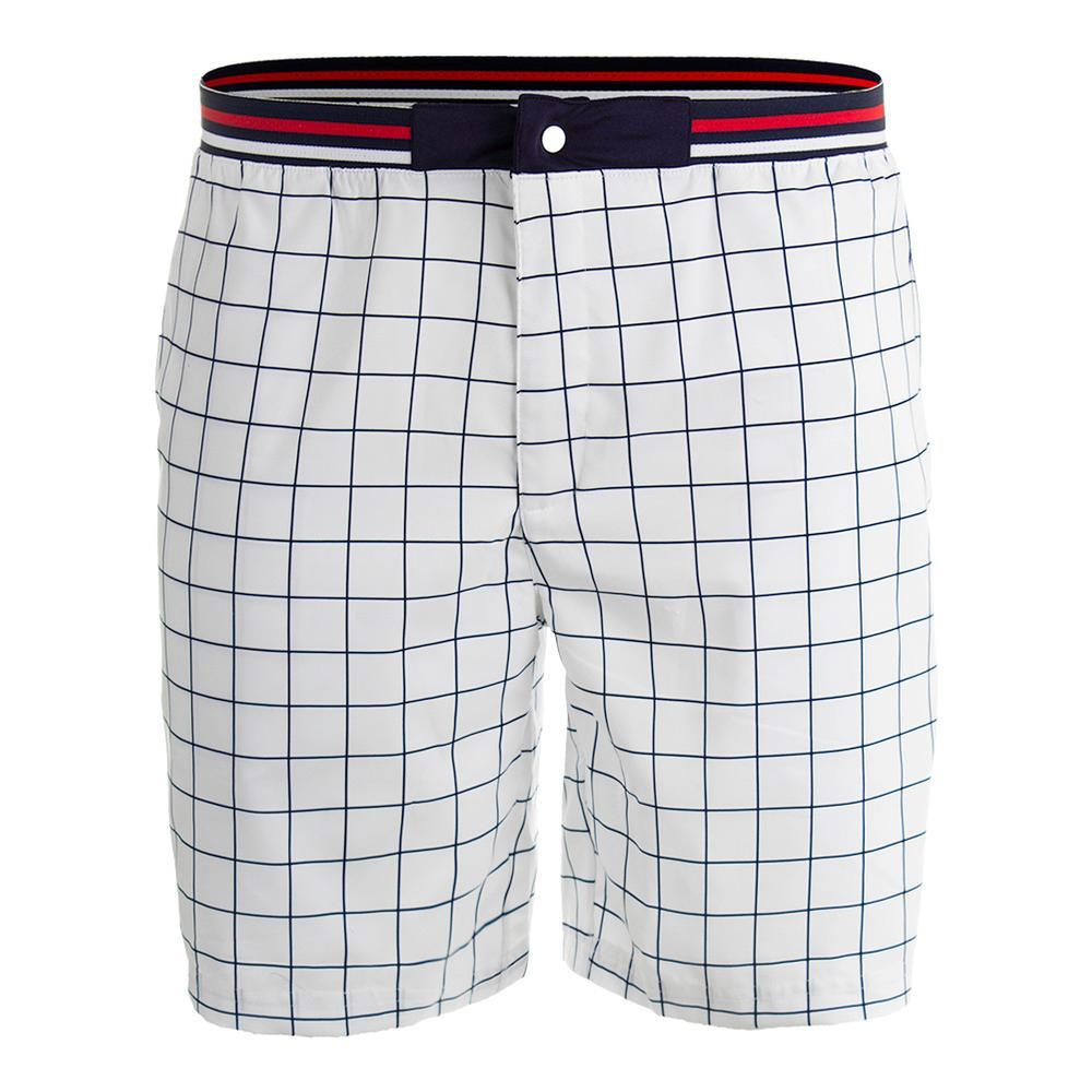 Men's Heritage Windowpane Tennis Short White And Navy