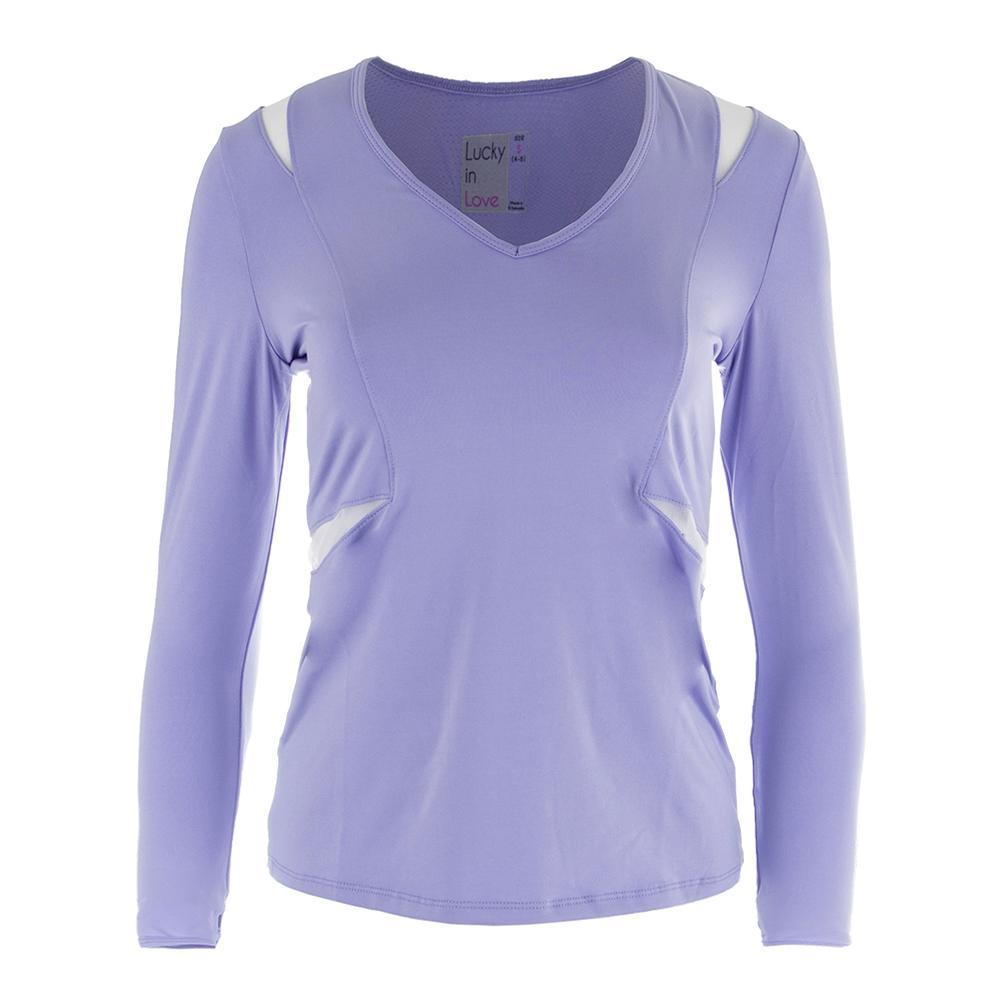 Women's V- Neck Long Sleeve Tennis Top Lilac