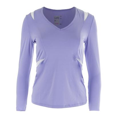 Women`s V-Neck Long Sleeve Tennis Top Lilac