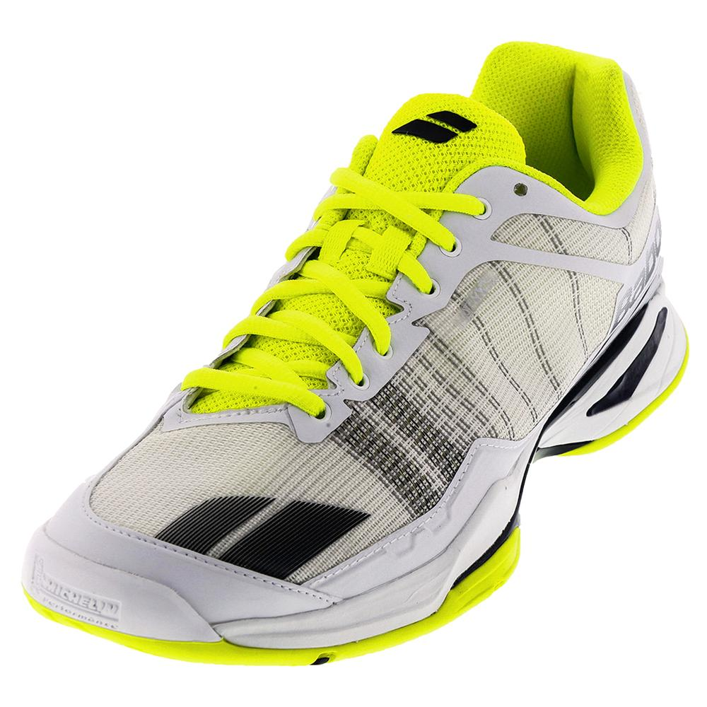 Men's Jet Team All Court Tennis Shoes White And Yellow