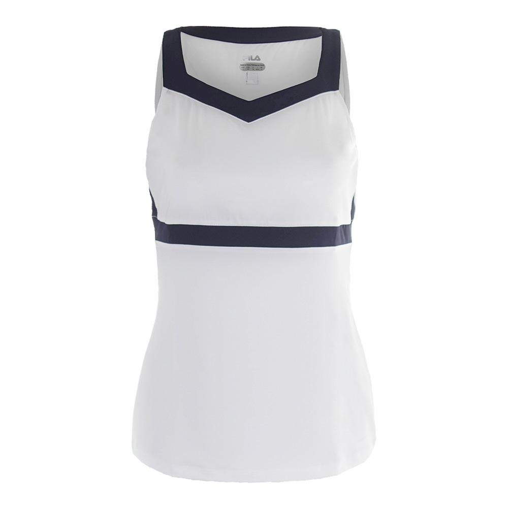 Women's Heritage Full Coverage Tennis Tank White And Navy
