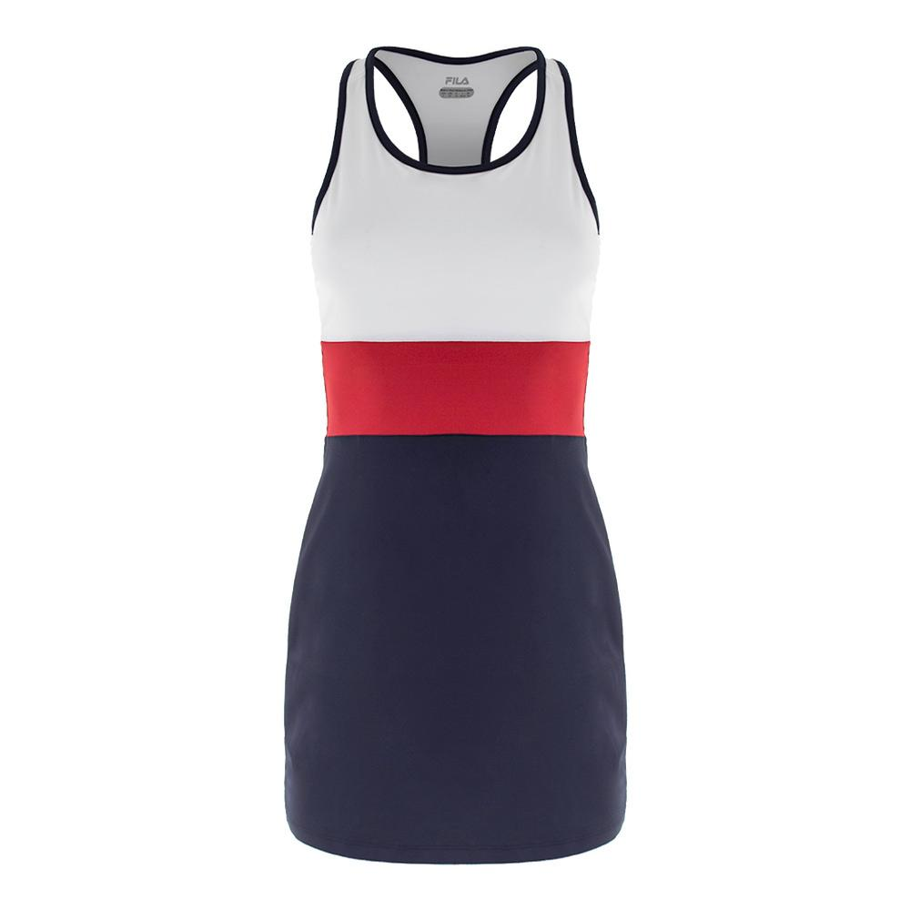 Women's Heritage Striped Tennis Dress Navy And White
