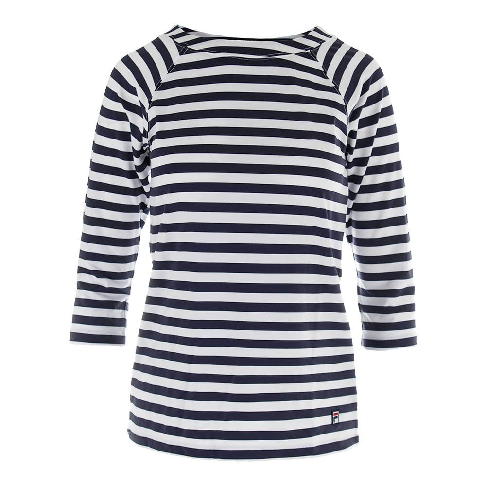 Women's Heritage 3/4 Sleeve Tennis Top Navy And White