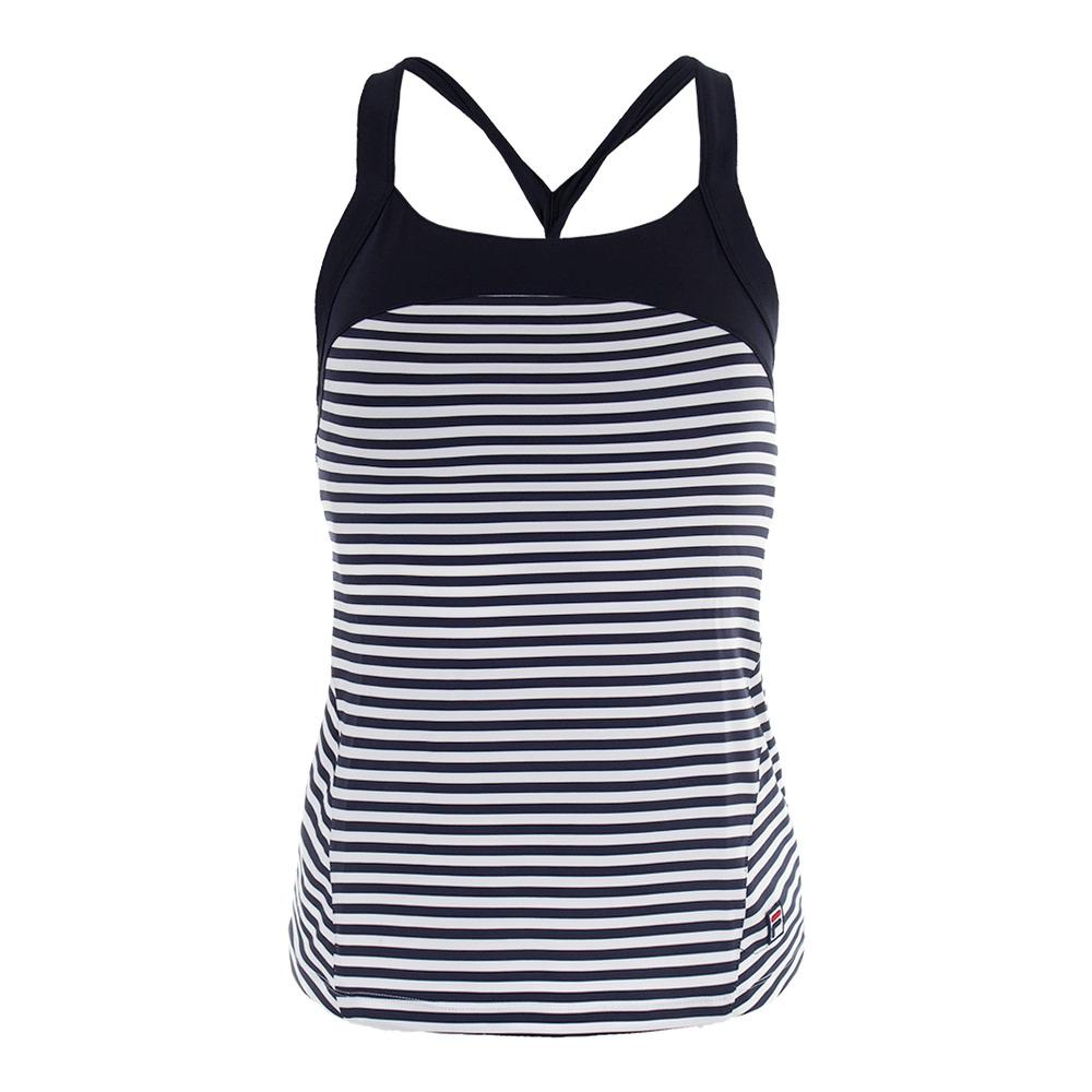Women's Heritage Twisted Back Tennis Tank Navy And White