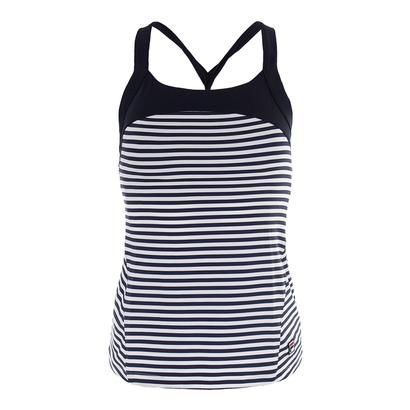 Women`s Heritage Twisted Back Tennis Tank Navy and White