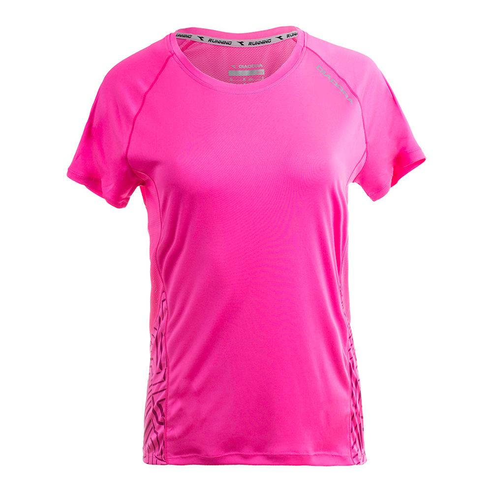 Women's Run Short Sleeve Tee Pink Fluo