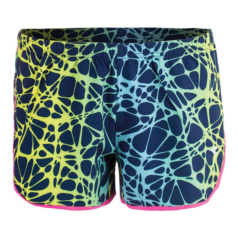 Women's Run Short Fluo Yellow And Slatire Navy