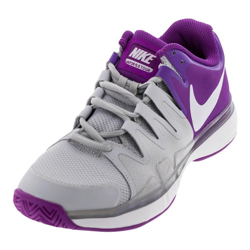 Women's Zoom Vapor 9.5 Tour Tennis Shoes Pure Platinum And Vivid Purple