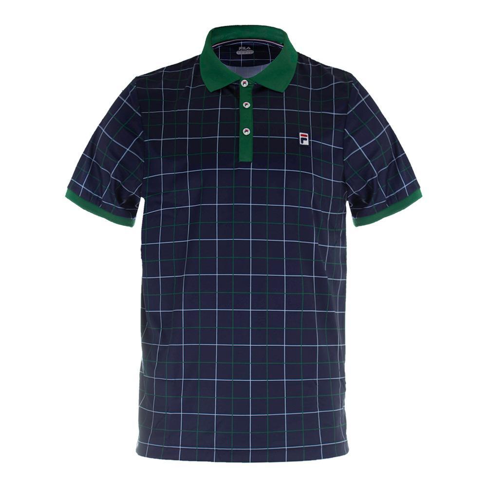 Men's Heritage Windowpane Tennis Polo Navy And Heritage Green