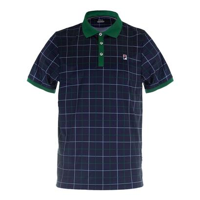 Men`s Heritage Windowpane Tennis Polo Navy and Heritage Green