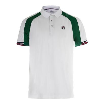 Men`s Heritage Tennis Polo White and Heritage Green