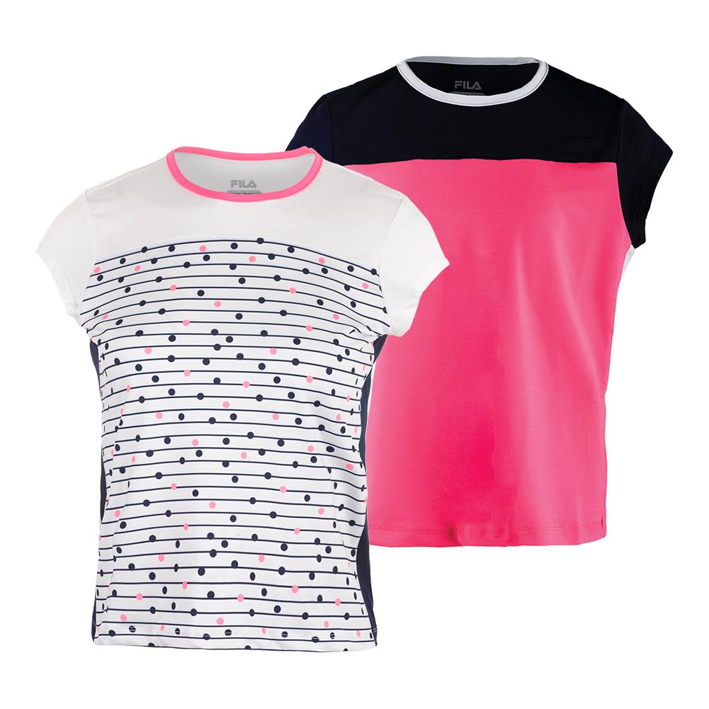 Girls ` Down The Line Cap Sleeve Tennis Top