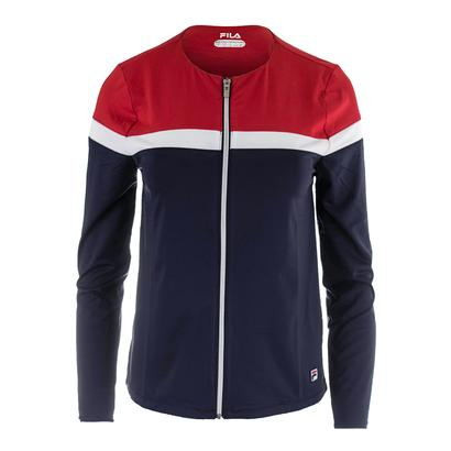 Women`s Heritage Full Zip Tennis Jacket Navy and Red