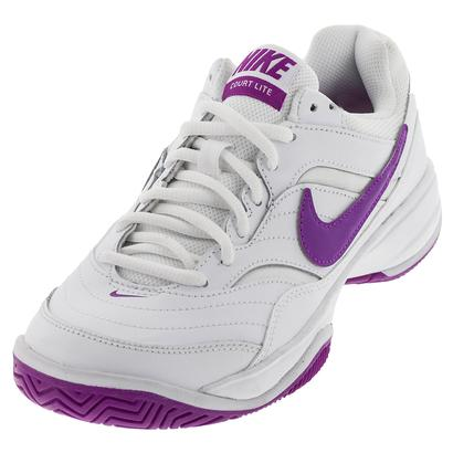 Women`s Court Lite Tennis Shoes White and Vivid Purple