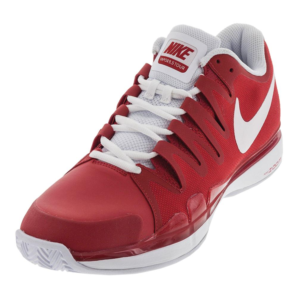 Men's Zoom Vapor 9.5 Tour Clay Tennis Shoes University Red And White