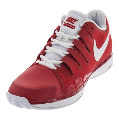 Men`s Zoom Vapor 9.5 Tour Clay Tennis Shoes University Red and White