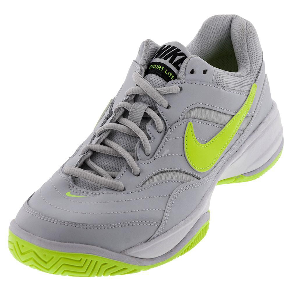 Women's Court Lite Tennis Shoes Pure Platinum And Volt