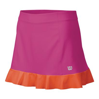 Women`s Star Ruffle Woven 12.5 Inch Tennis Skort Rose Violet and Nasturtium