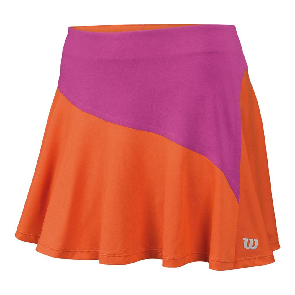 Women's Star Bonded 13.5 Inch Tennis Skort Nasturtium And Rose Violet