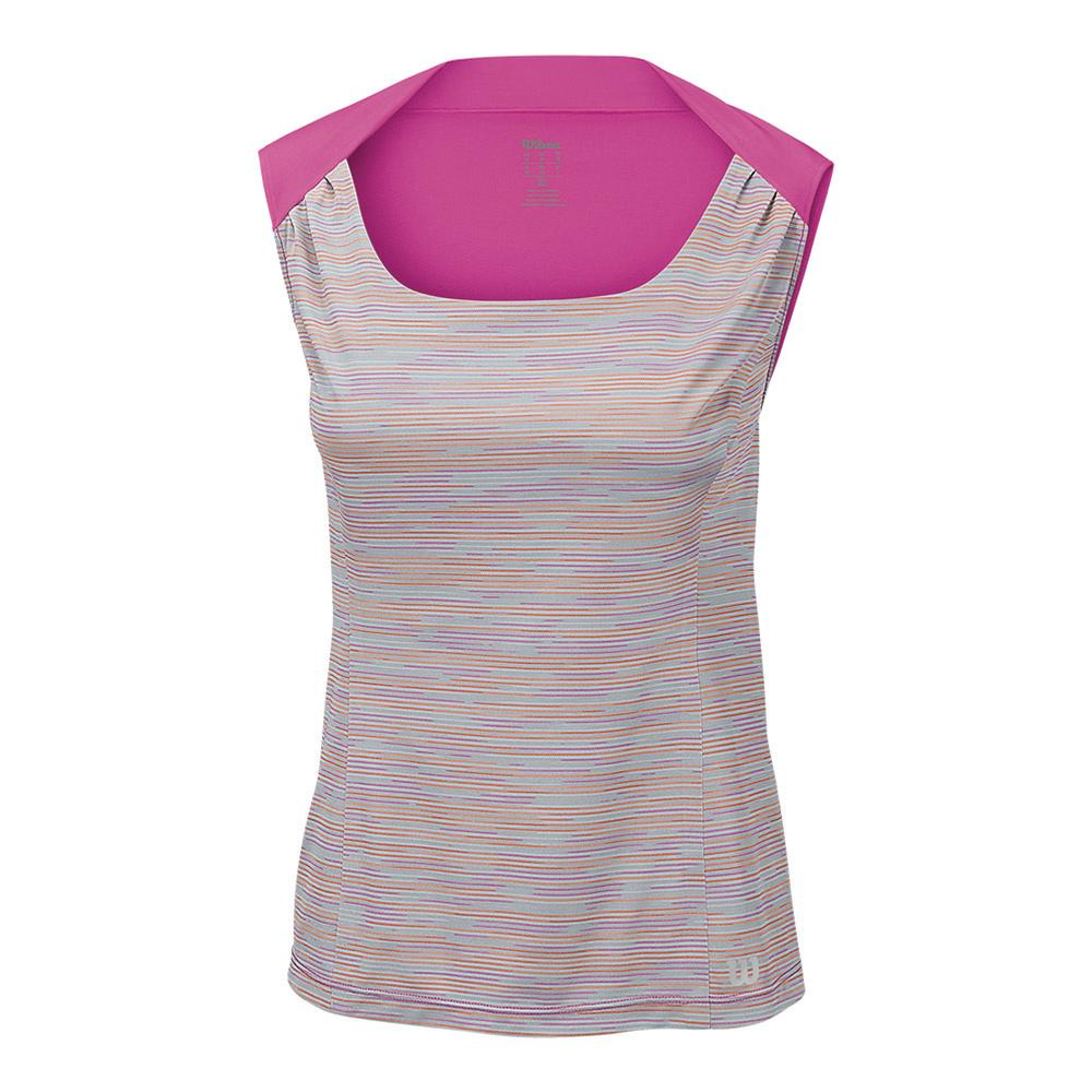 Women's Star Striated Tennis Tank Pearl Gray And Rose Violet