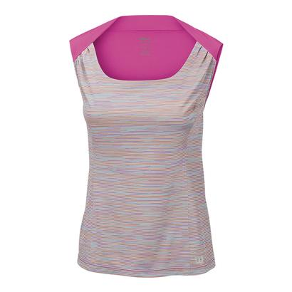 Women`s Star Striated Tennis Tank Pearl Gray and Rose Violet