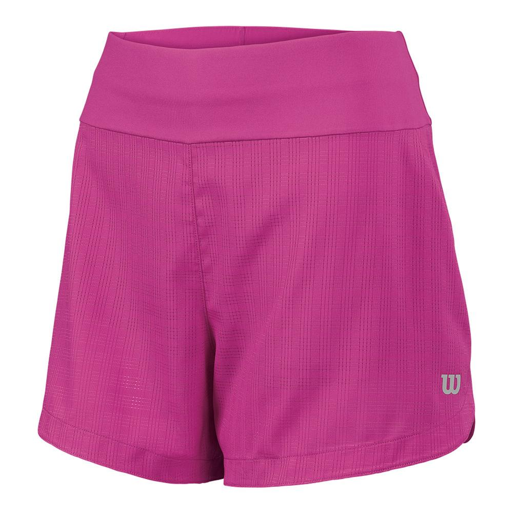 Women's Start Windowpane 4 Inch Tennis Short Rose Violet