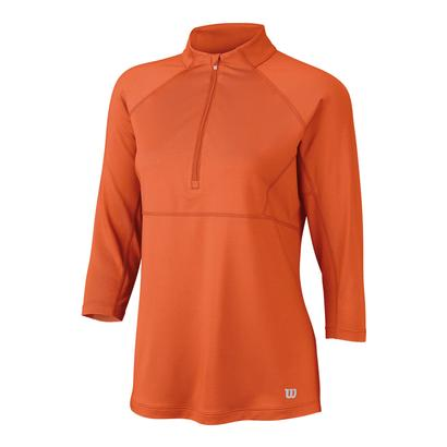 Women`s Three Quarter Sleeve Zip Neck Tennis Top Nasturtium