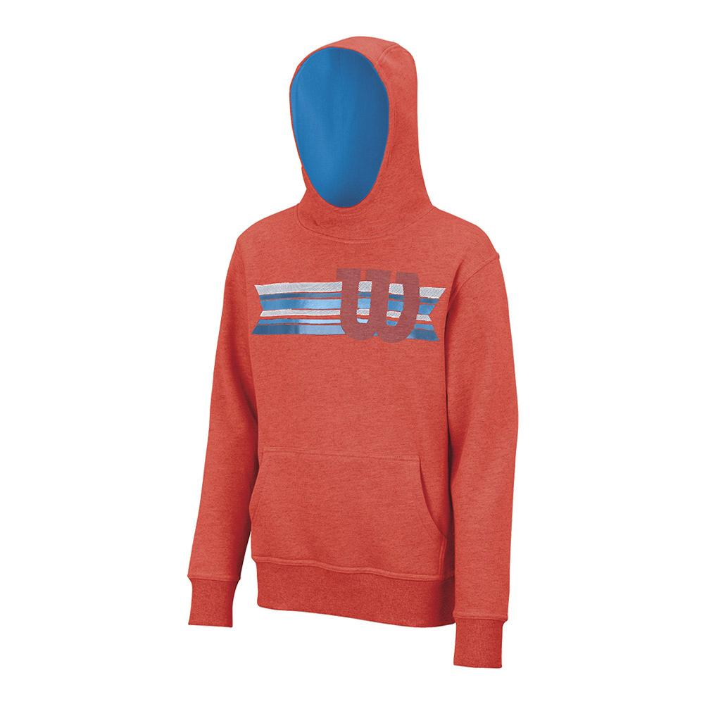 Boys'stripe W Pullover Tennis Hoody Hot Coral