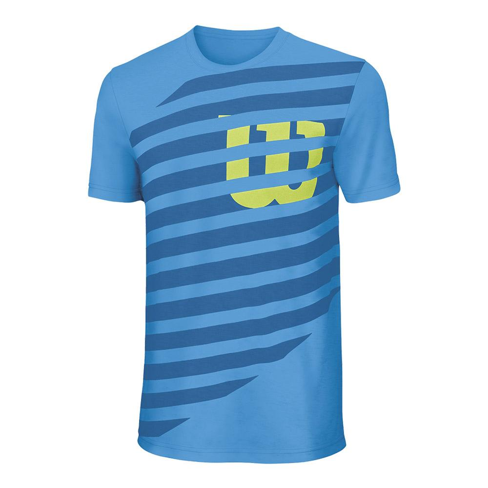 Boys ` Lined W Tech Tennis Tee Blithe And Deep Water