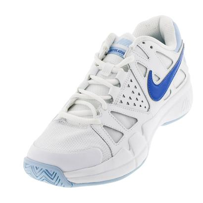 Women`s Air Vapor Advantage Tennis Shoes White and Comet Blue