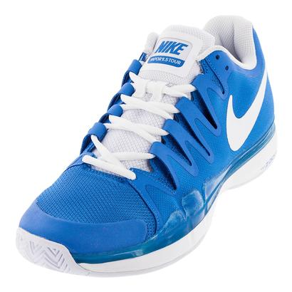Men`s Zoom Vapor 9.5 Tour Tennis Shoes Light Photo Blue and White