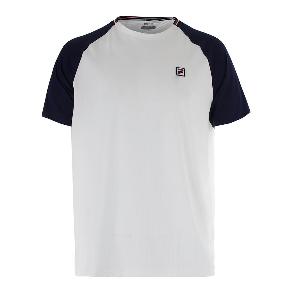 Men's Heritage Textured Tennis Crew White And Navy