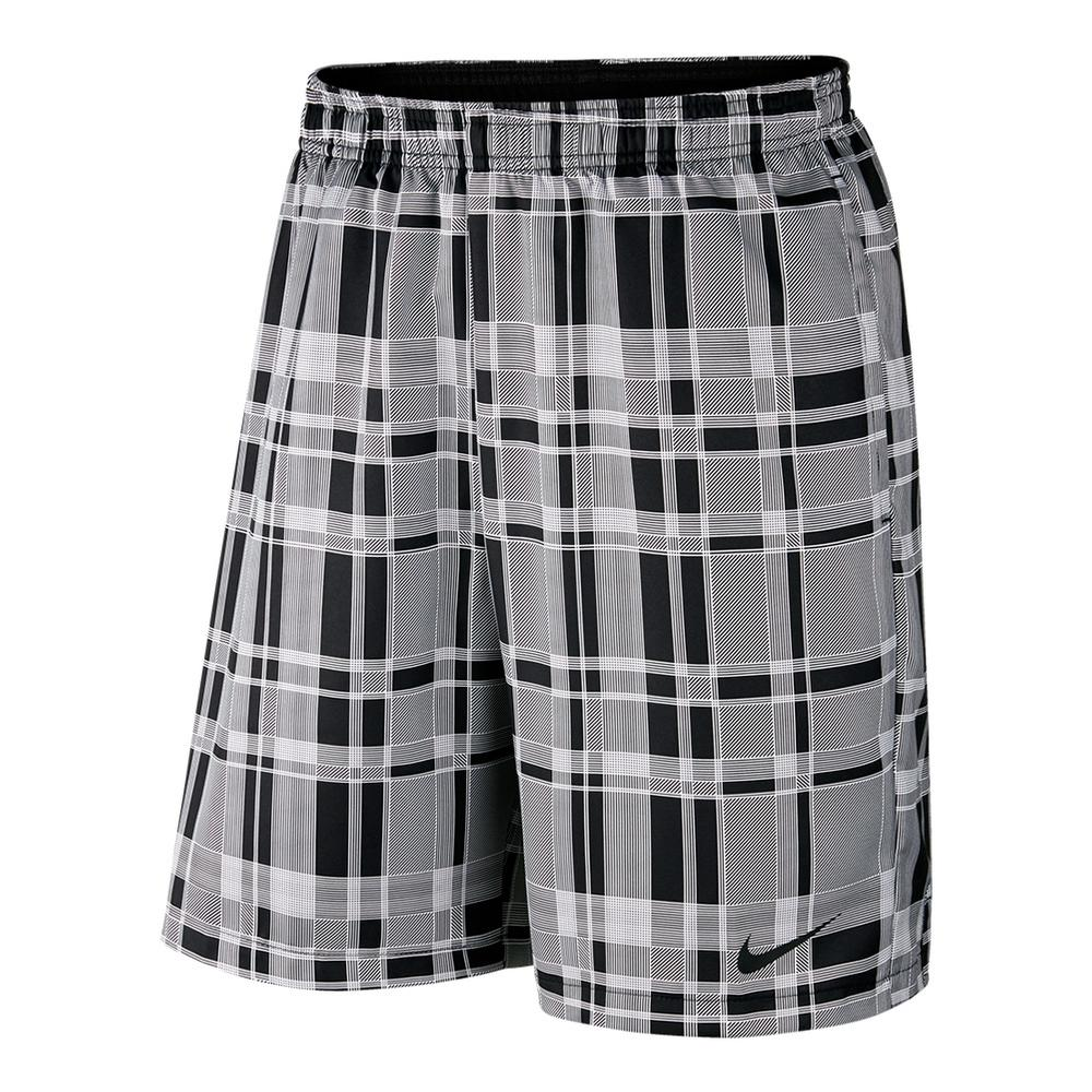 Men's Court Dry 9 Inch Plaid Tennis Short White And Black