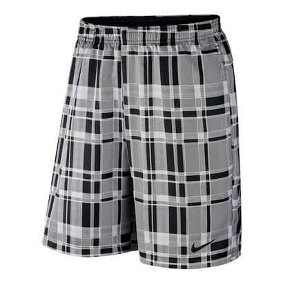 Men`s Court Dry 9 Inch Plaid Tennis Short White and Black