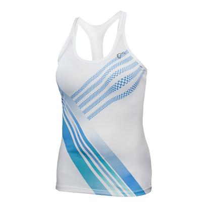 Women`s Stripe Racerback Tennis Tank White