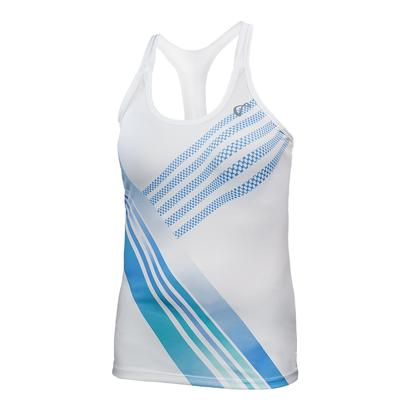 Girls` Stripe Racerback Tennis Tank White