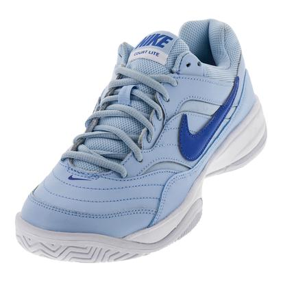 Women`s Court Lite Tennis Shoes Ice Blue and White